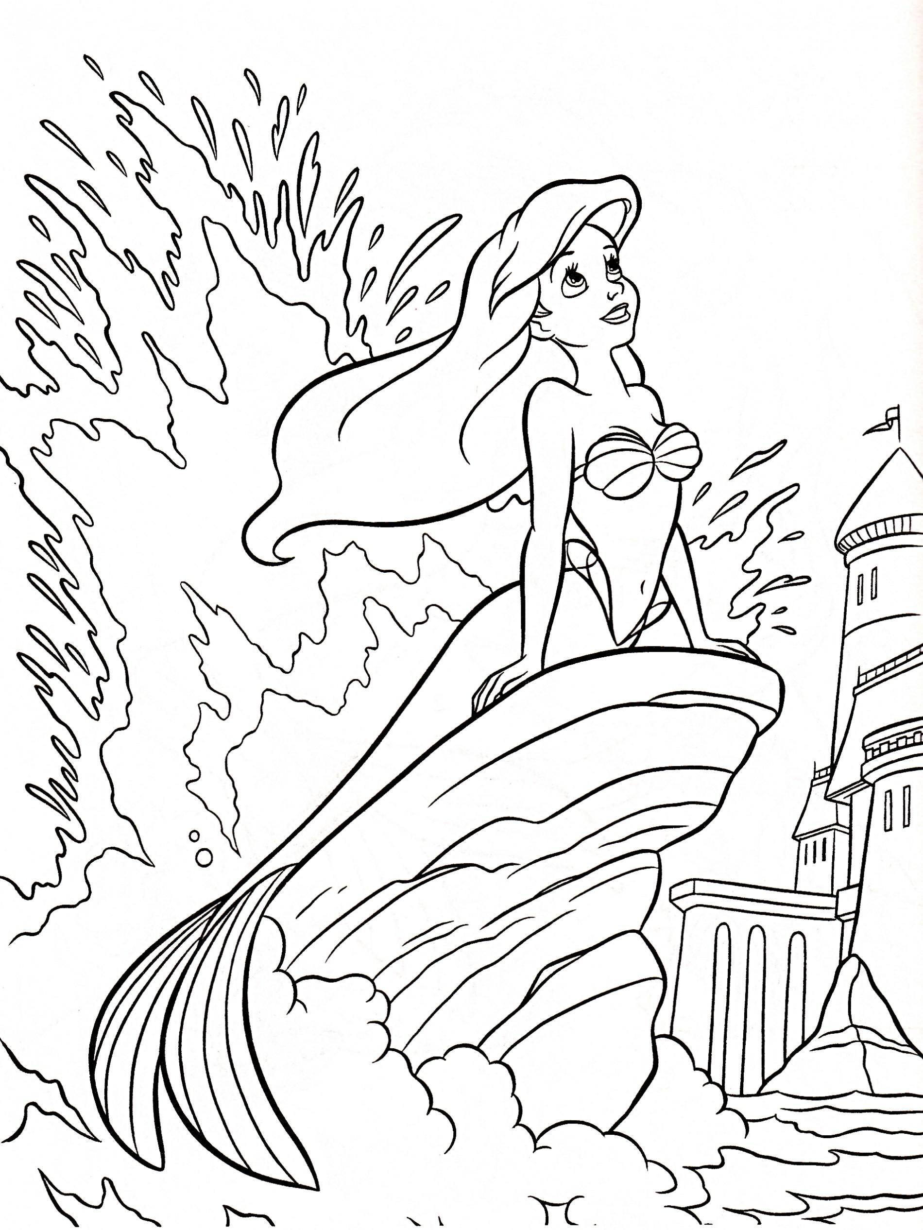 The Little Mermaid Coloring Pages (4) | Disneyclips.com | 2532x1900
