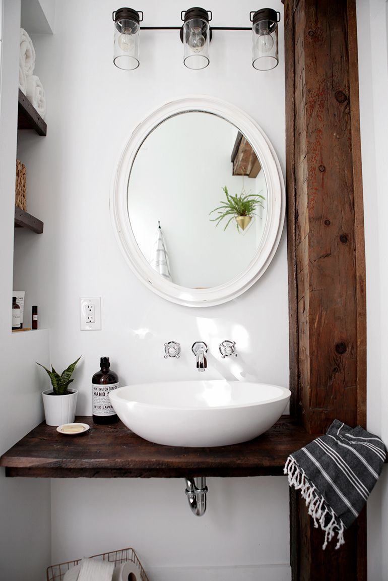 DIY Floating Sink Shelf | Pedestal sink, Small spaces and Vessel sink
