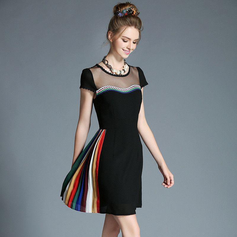 Women Plus Size Pleat Mesh Patchwork Black Short Sleeve Party Dress ...