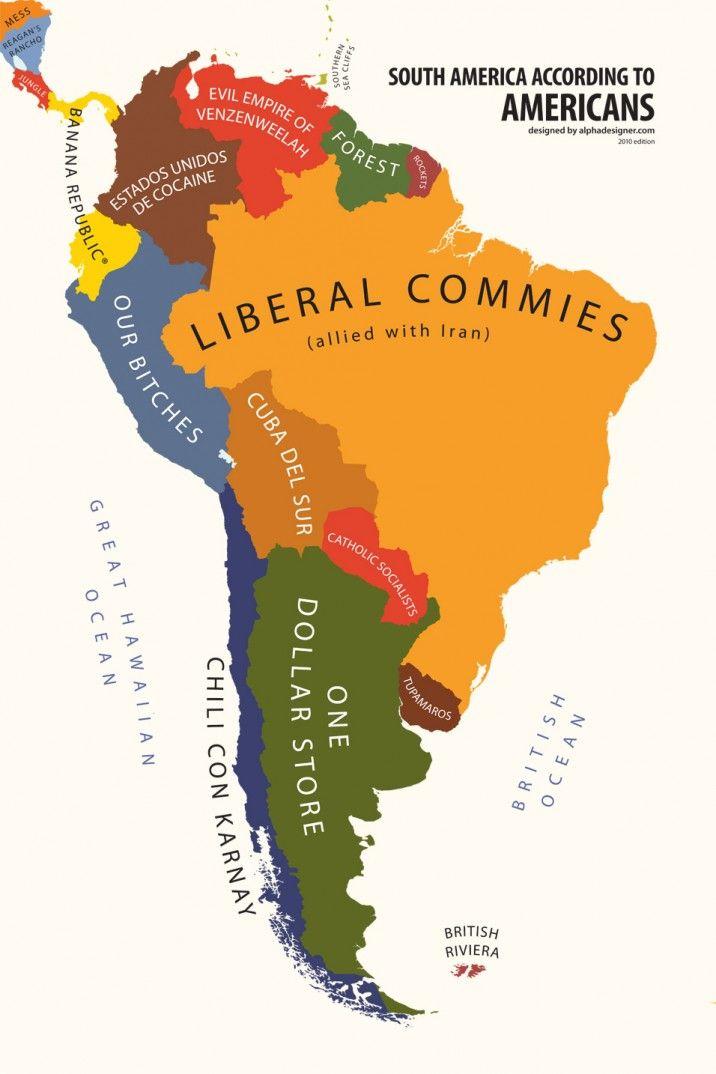 South America According to USA Cartoons Pinterest South america