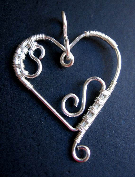 Silver wire heart pendant, handmade from non tarnish silver plated ...