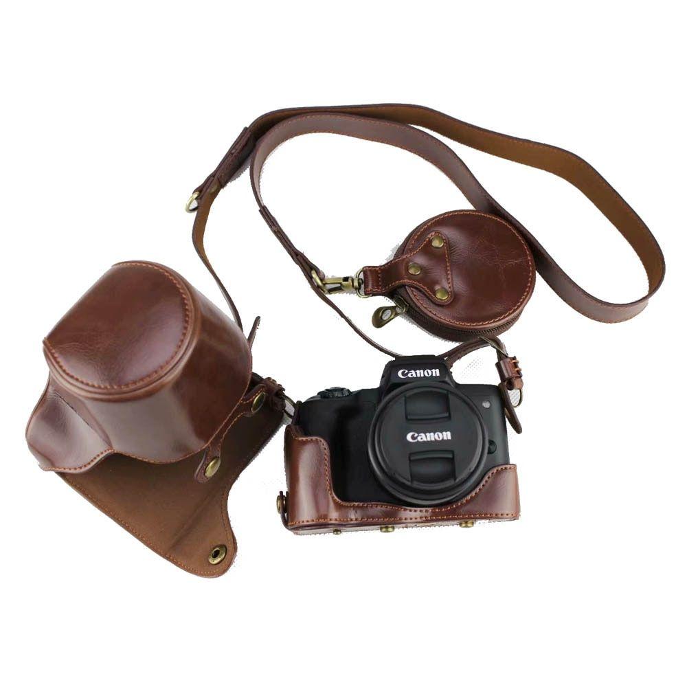 حقائب كاميرا فيديو رخيص اشتري مباشرة من المورد بالصين حقيبة كاميرا جلدية فاخرة Pu لكانون Eos M50 Eosm50 مع عدسة 15 45 مللي متر In 2020 Bag Cover Leather Neck Strap