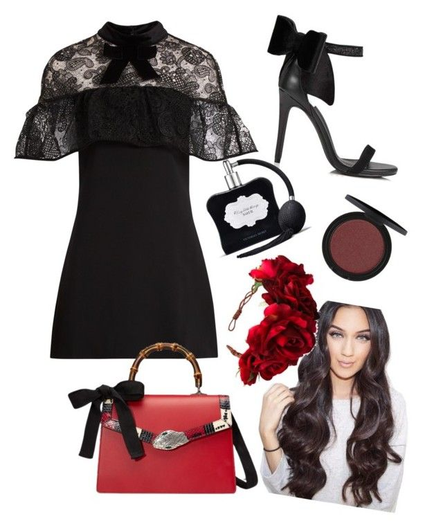 """""""Red rose"""" by mscheriefatale on Polyvore featuring self-portrait, Miss Selfridge, Gucci, Rock 'N Rose and Victoria's Secret"""