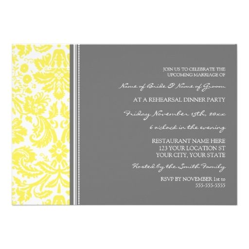 Lemon Grey Damask Rehearsal Dinner Party Personalized Announcements