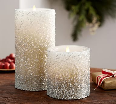Pottery Barn Flameless Candles Beauteous Flicker Flameless Wax Pillar Candle  Silver Beaded #potterybarn