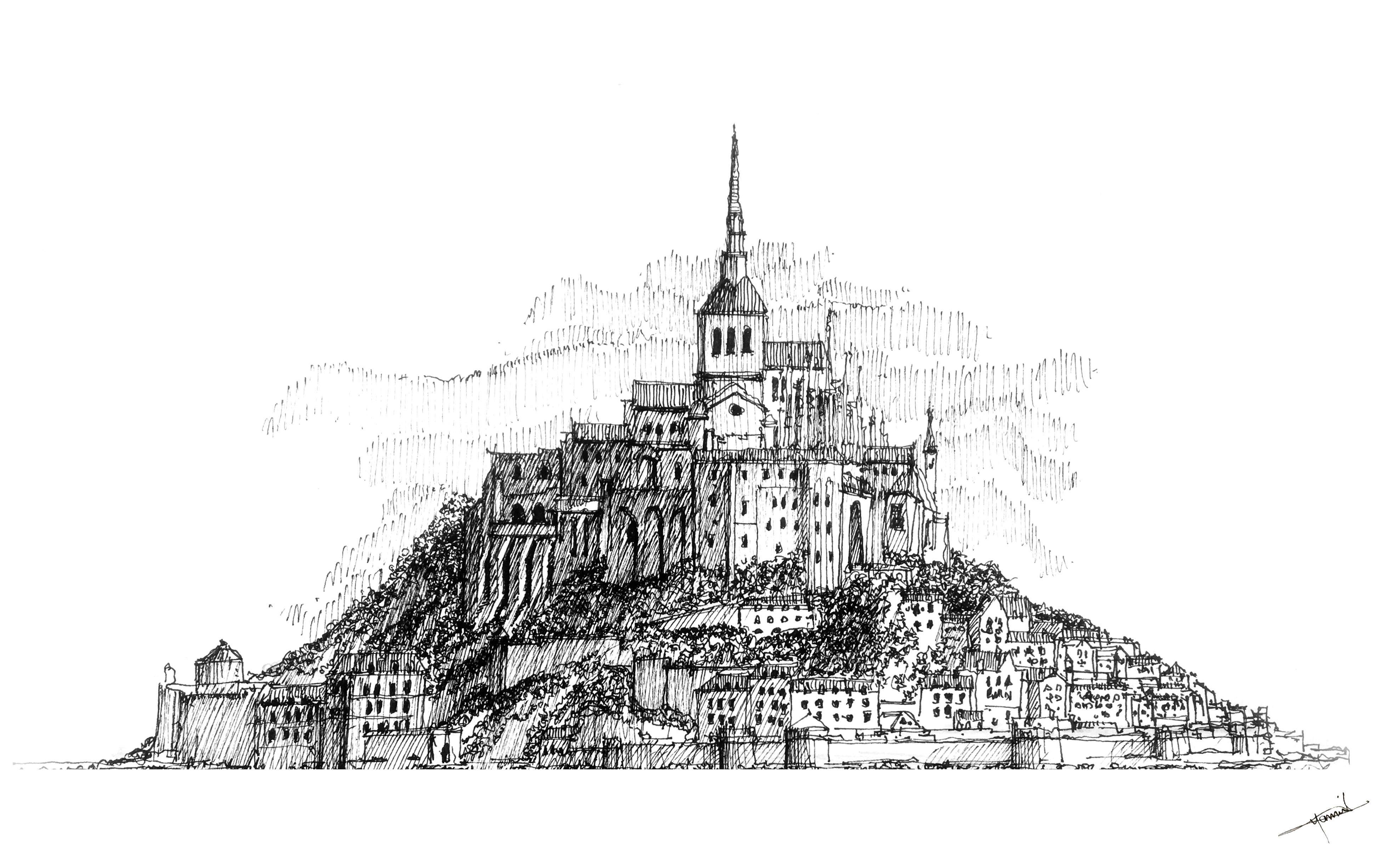 Le Mont Saint Michel Normandy France Ink Drawing Copyright