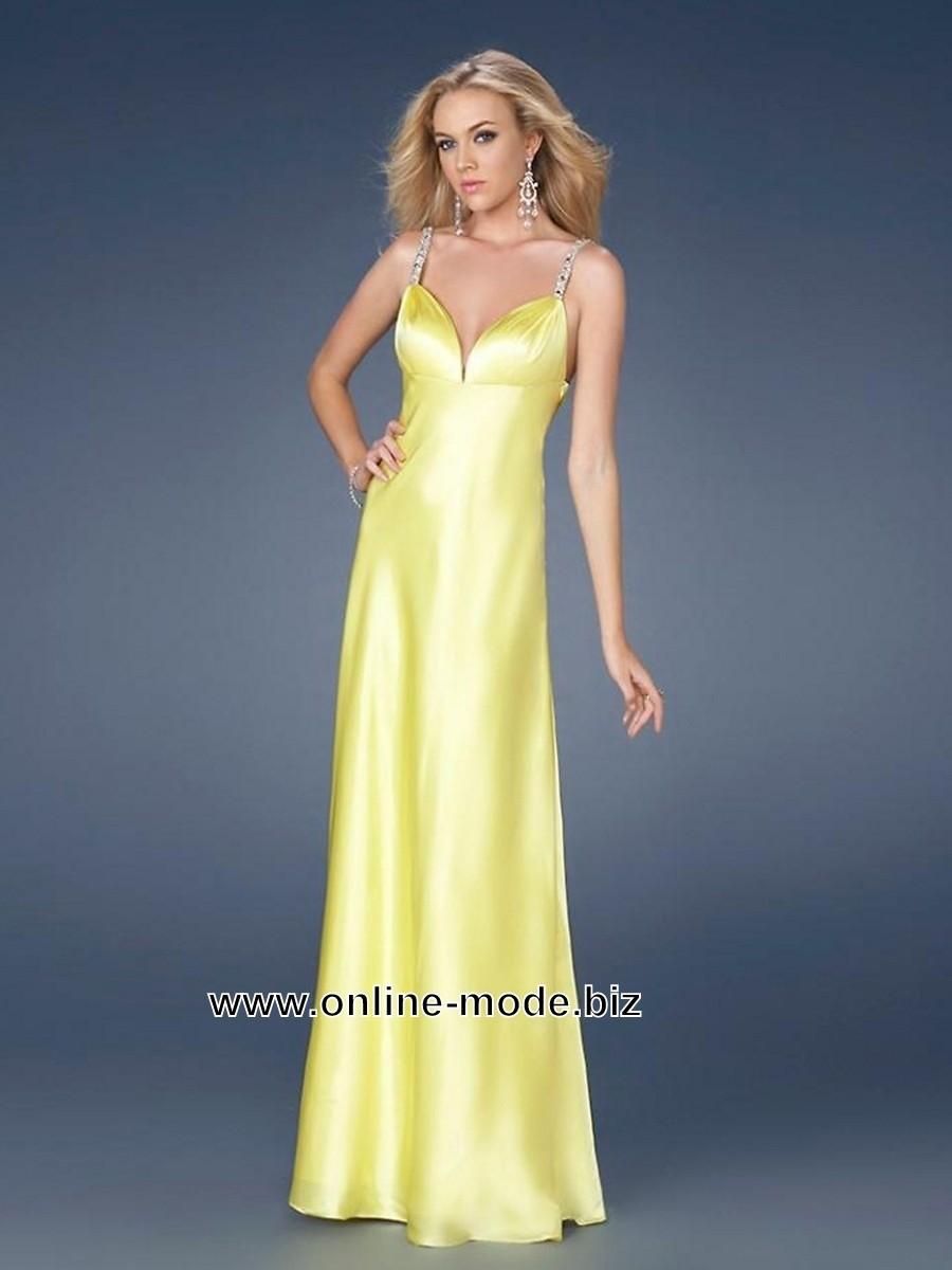 Satin Abendkleid in Gelb Bodenlang  Kleider kleiner promis