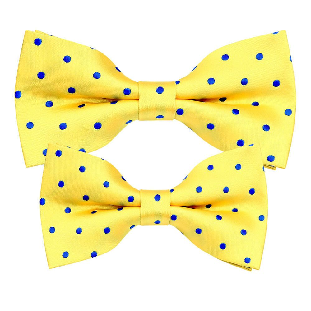 Brand new Yellow and Blue Jacquard Polka Dot Bow Tie MEN//BOY DAD//SON SET B1493