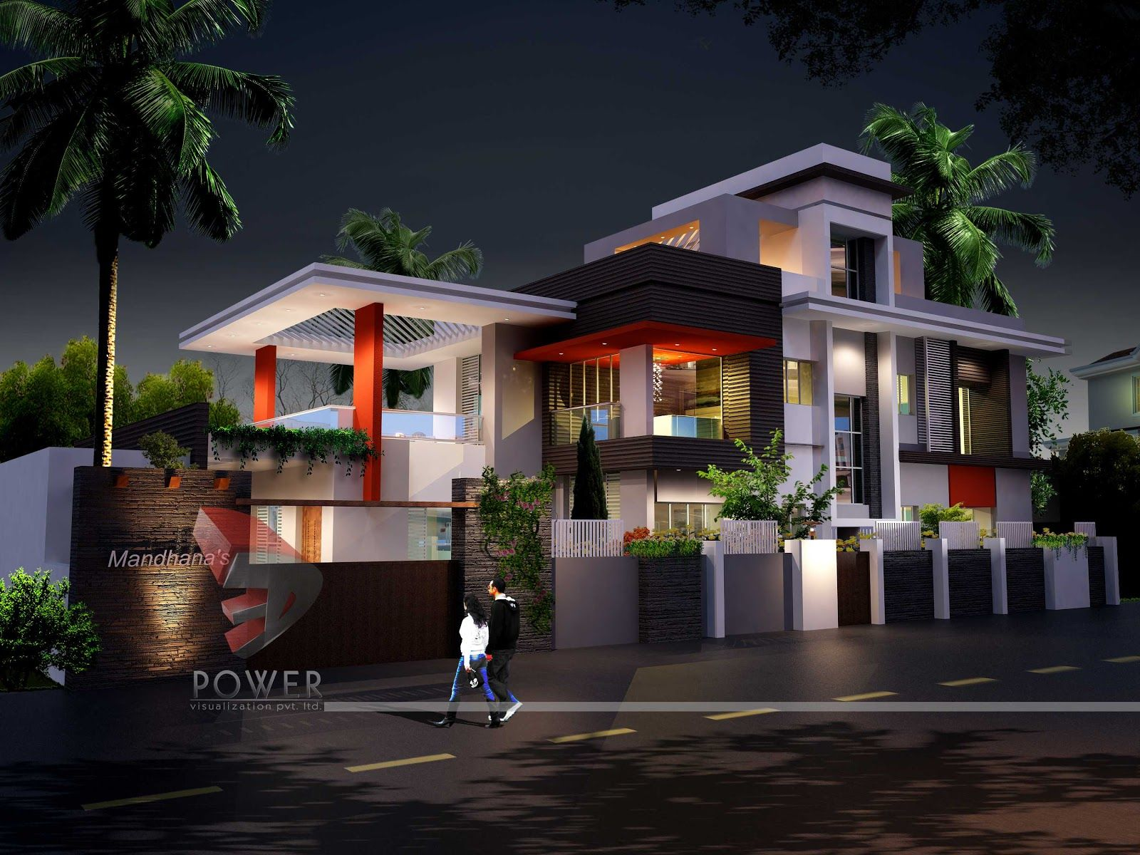 3d architecture rendering ultra modern home de 6077 Contemporary house style