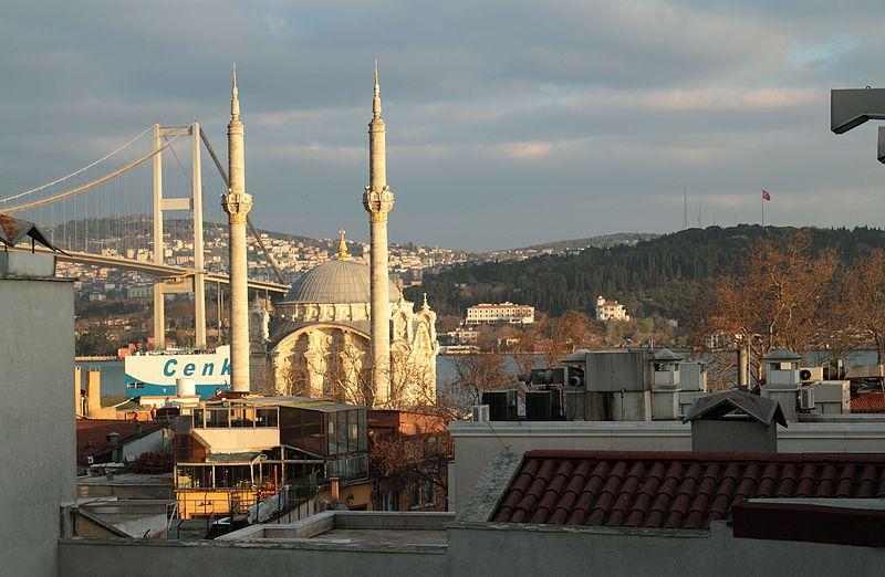 Ortaköy, Istanbul: view on mosque and Bosphorus bridge