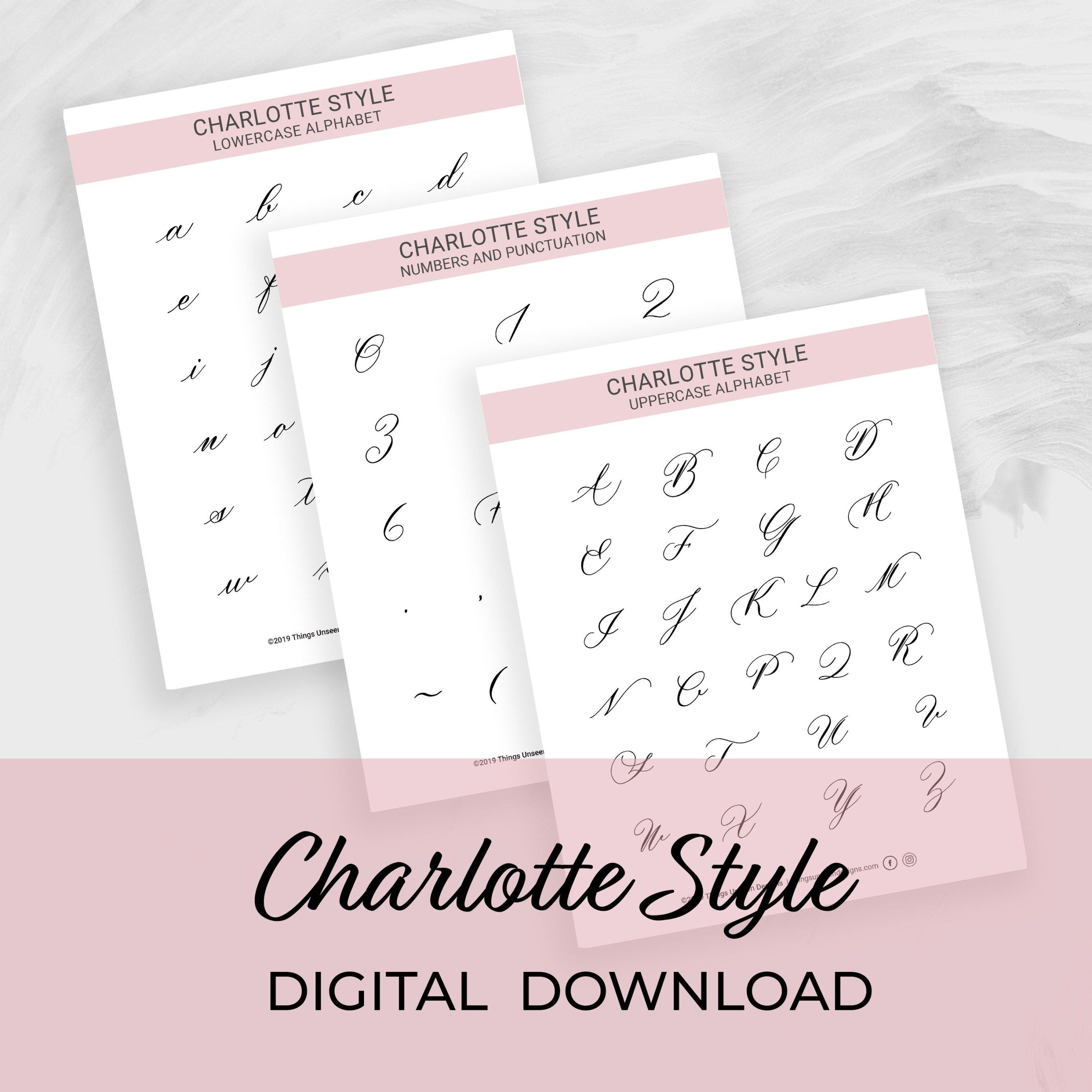 Modern Calligraphy Worksheets Charlotte Style In Pointed Pen Small Brush Pen And Ipad Procreate Ver Calligraphy Worksheet Modern Calligraphy Marker Paper [ 2700 x 2700 Pixel ]