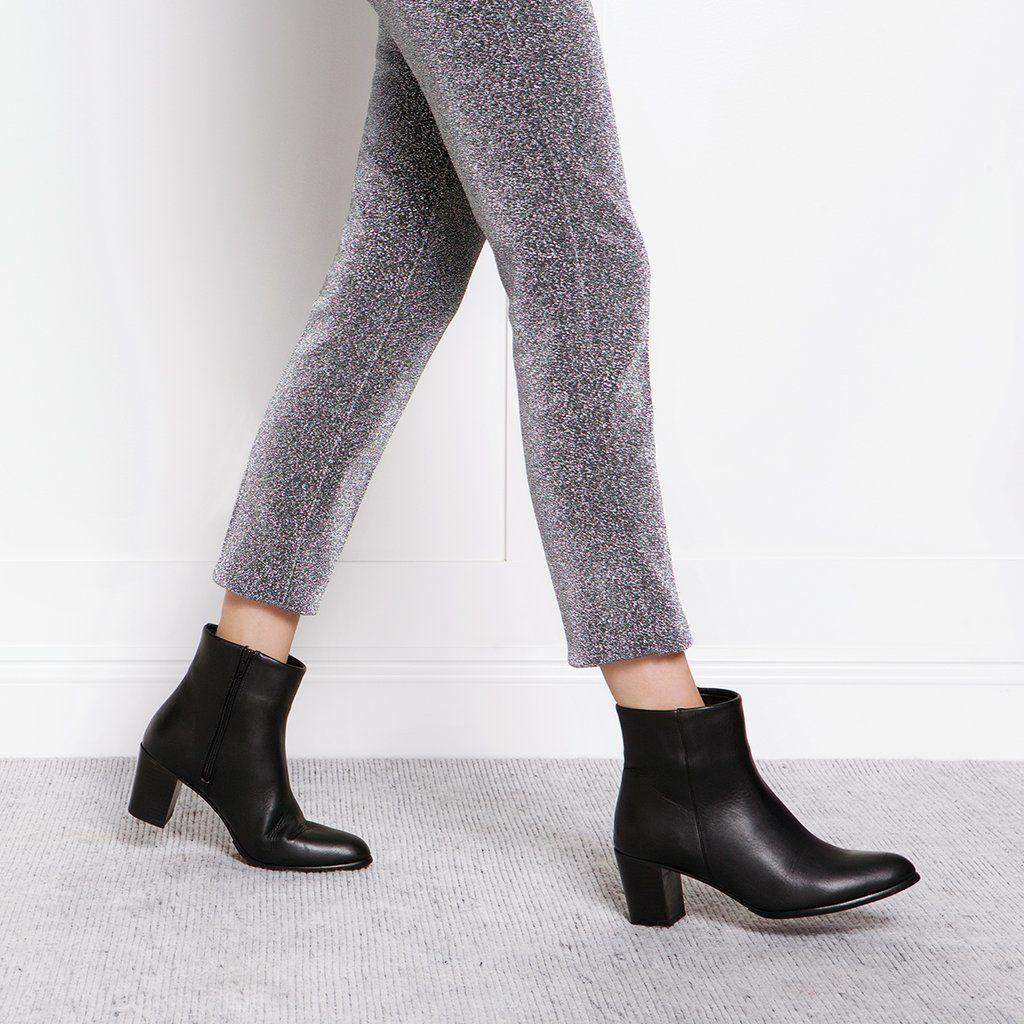 The Block Heel Ankle Boot - black