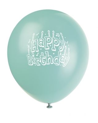 Seafoam Green Aqua Printed Happy Birthday Balloon