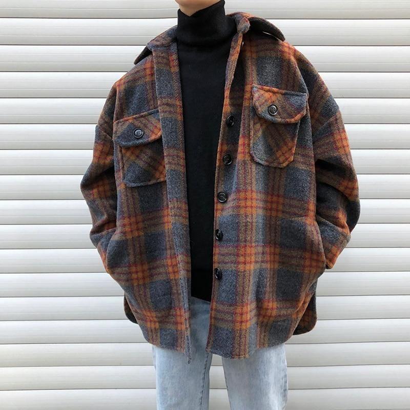 Photo of Winter Wollmantel Männer Warmer Mantel Mode Retro Hit Farbe Tartan Wolljacke He…