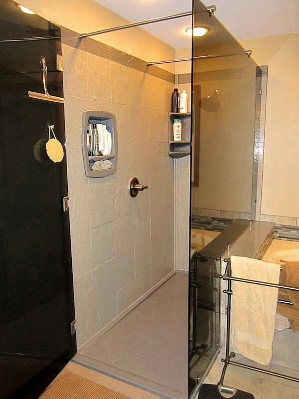 Check Out This Stoned Tile Low Profile Door Option Onyx Collection - Onyx bathroom remodel