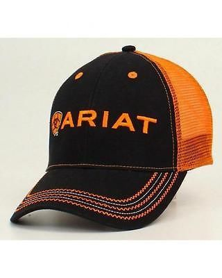 1027308c067130 Ariat Rumblin Mesh Cap Black Orange 15160276   Ballcaps   Hats ...