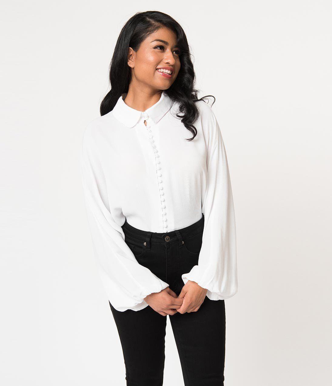 b77eaa72b82e Vintage Style White Button Up Bishop Sleeve Crepe Blouse – Unique Vintage