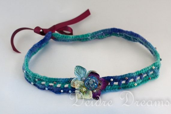 Crochet Head Band  With Handspun Merino Wool  by DeidreDreams, €36.95