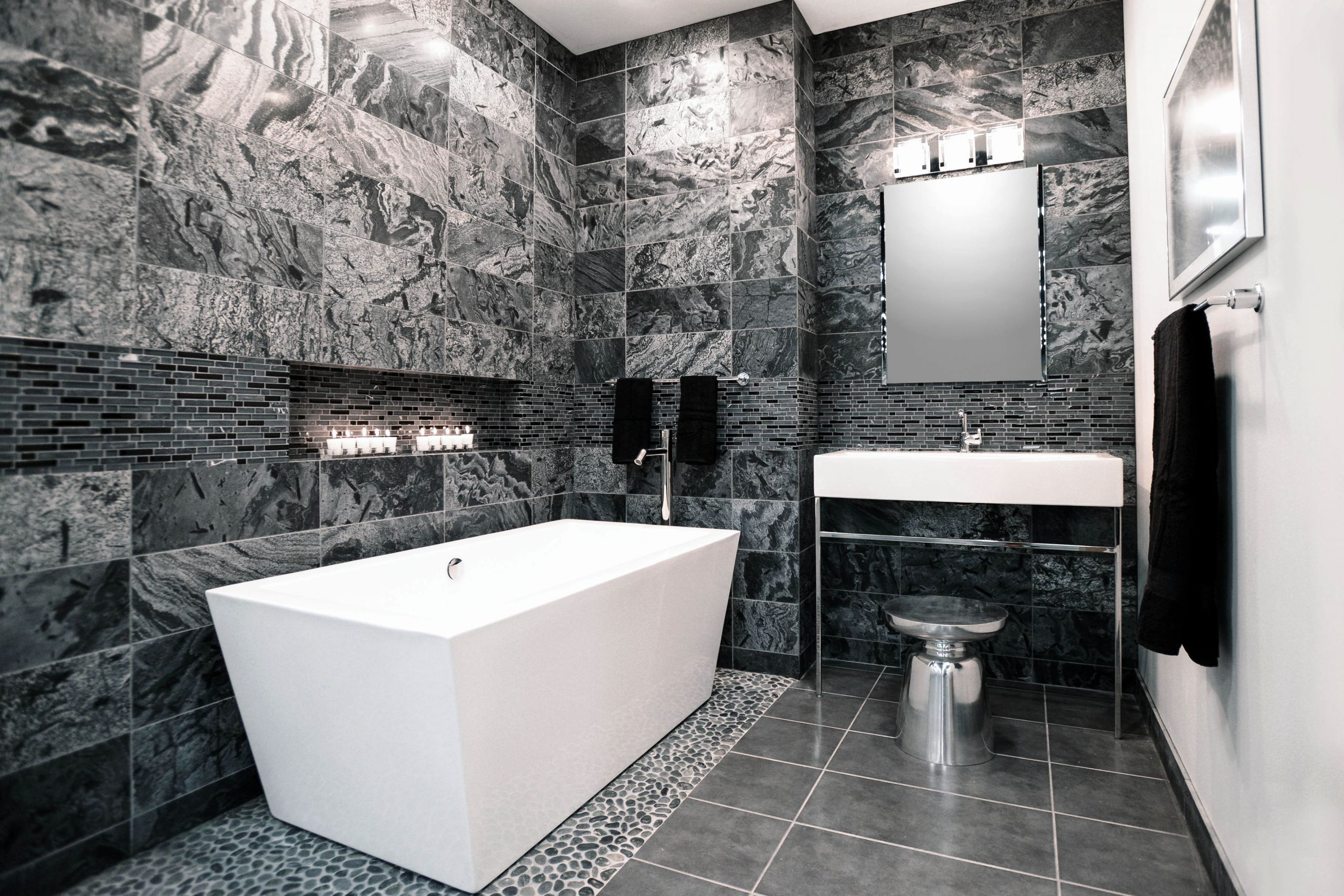 Black And Silver Bathroom Decor Unique The Tile Shop Introduces 2015 Design Preview Providing Inspirati In 2020 Silver Bathroom Black Bathroom Black And Silver Bedroom
