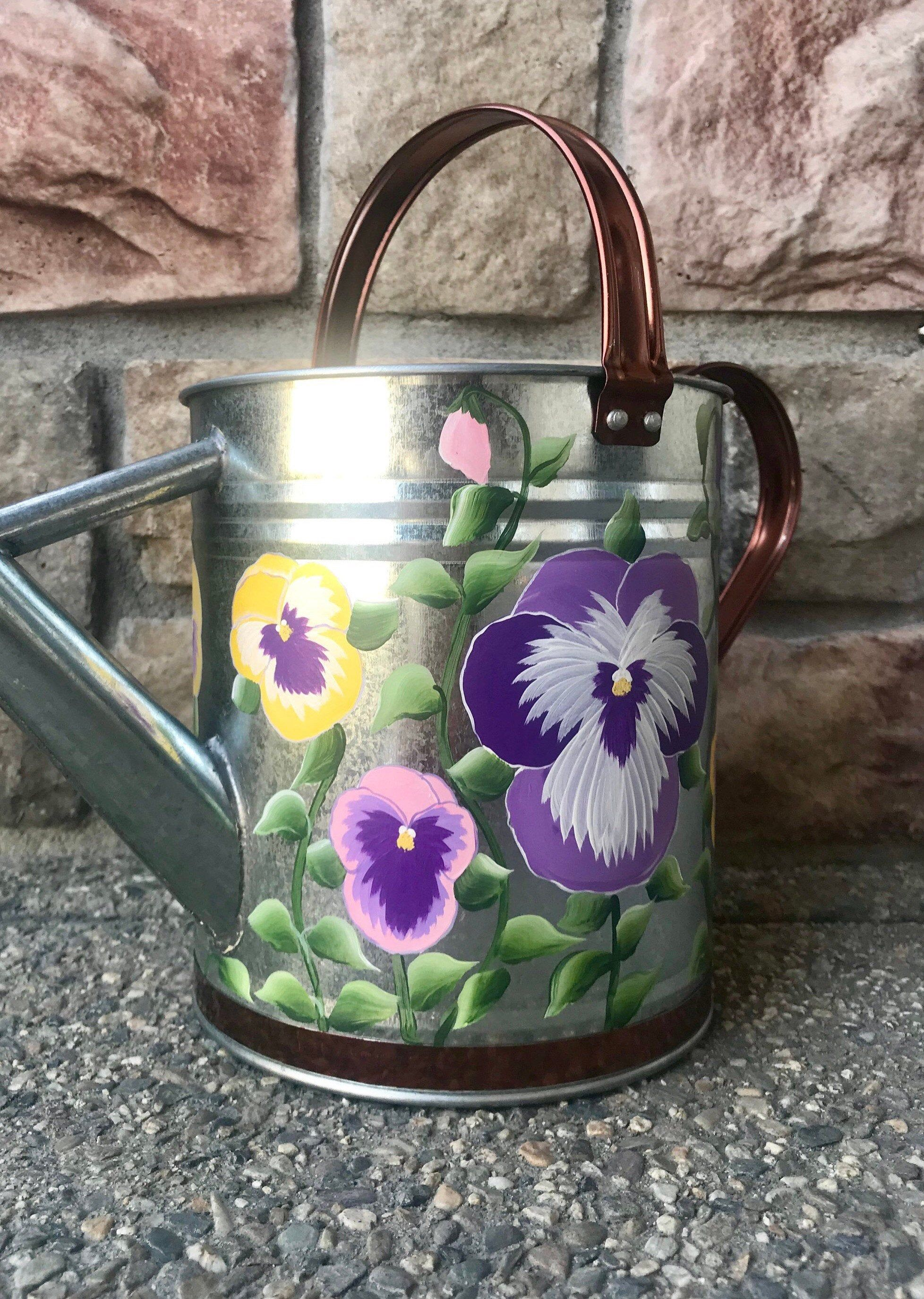 Pansy Garden Watering Can Handpainted Etsy In 2020 Pansy Garden Painted Flower Pots Pansies