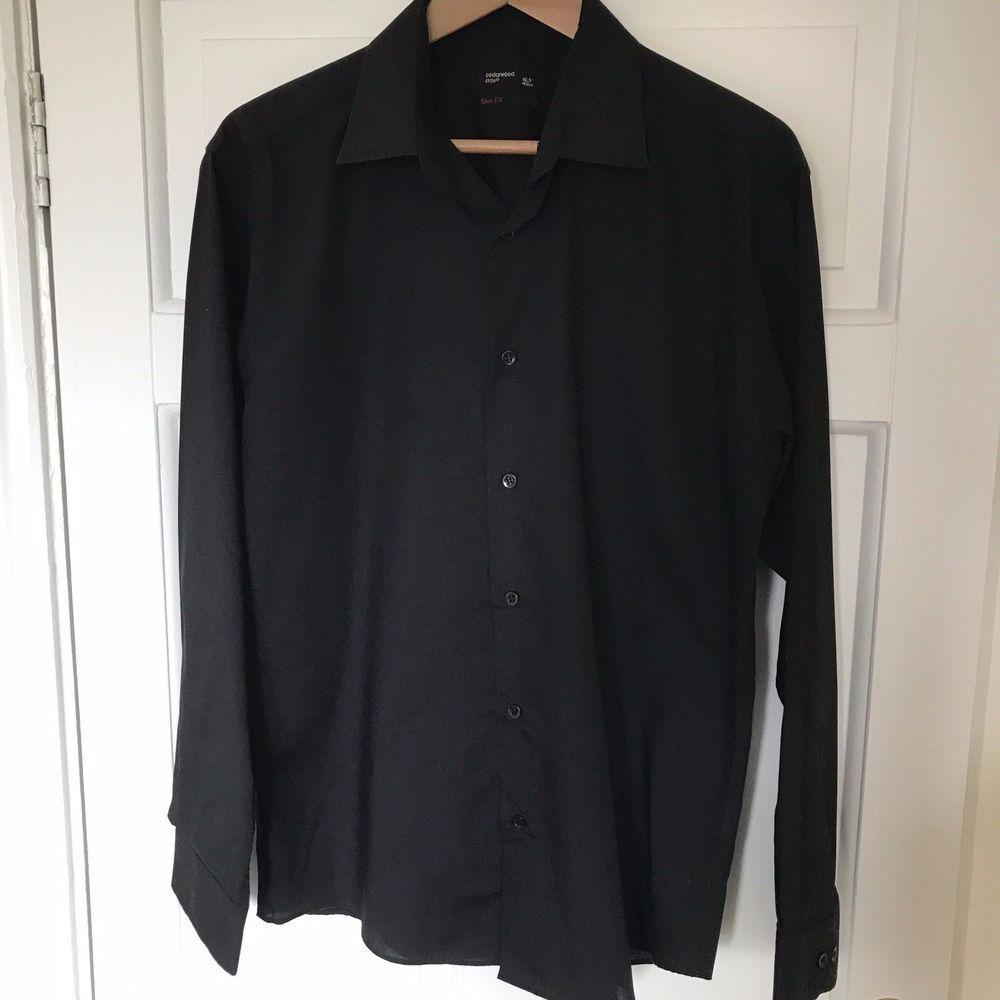 Mens Slim Fit 165 Cedarwood State Black Formal Shirt Hanger Marksspencer Cedarwoodstate Businessregularcollar