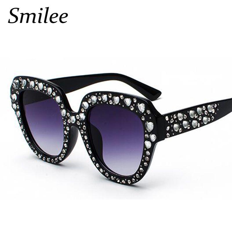 fa09c7cb1949 Find More Sunglasses Information about Rhinestone sunglasses oversized  women s Cat Eye Sunglasses Heart Shape crystals Luxury Brand Designer  fashion shades ...