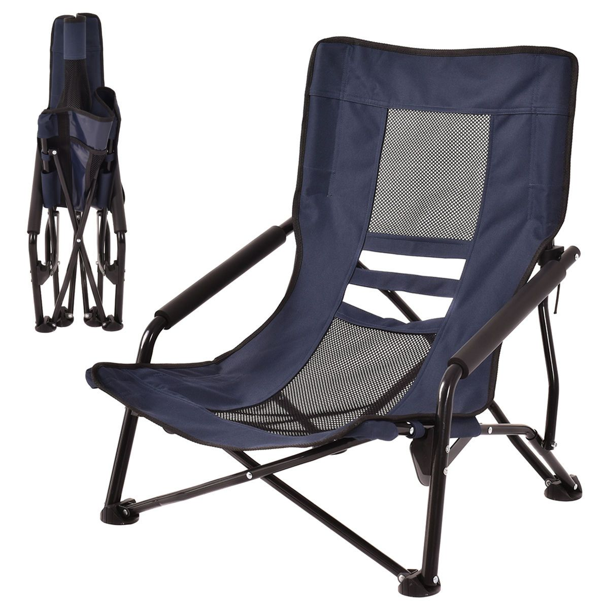 Outdoor High Back Folding Beach Chair Camping Furniture Portable Mesh Seat Navy Folding Beach Chair Camping Furniture Beach Chairs Portable