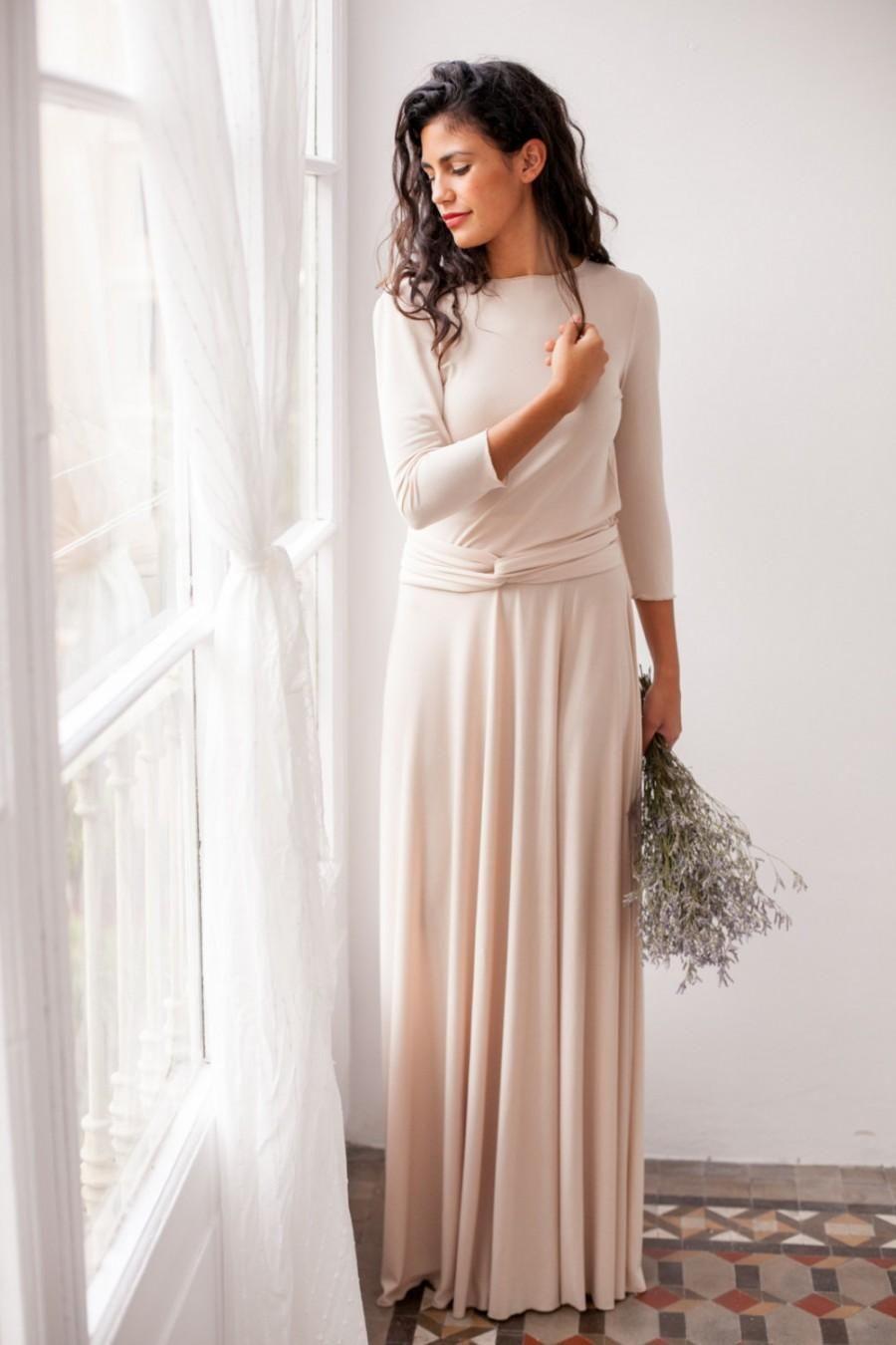 Maxi Dress Long Sleeves Evening Champagne Dresses Long Beige Bridesmaid Dress Long Long Sleeve Bridesmaid Dress [ 1350 x 900 Pixel ]