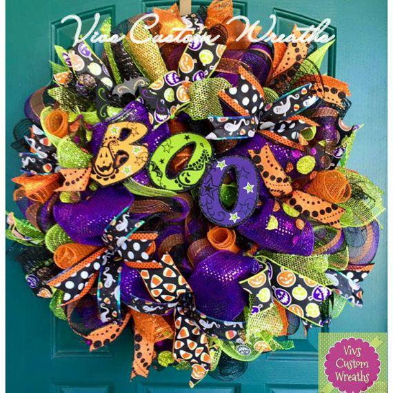 Boo! Halloween Mesh Wreath, Halloween Deco Mesh Wreath, Boo Wreath, Halloween Wreath, Halloween Decor