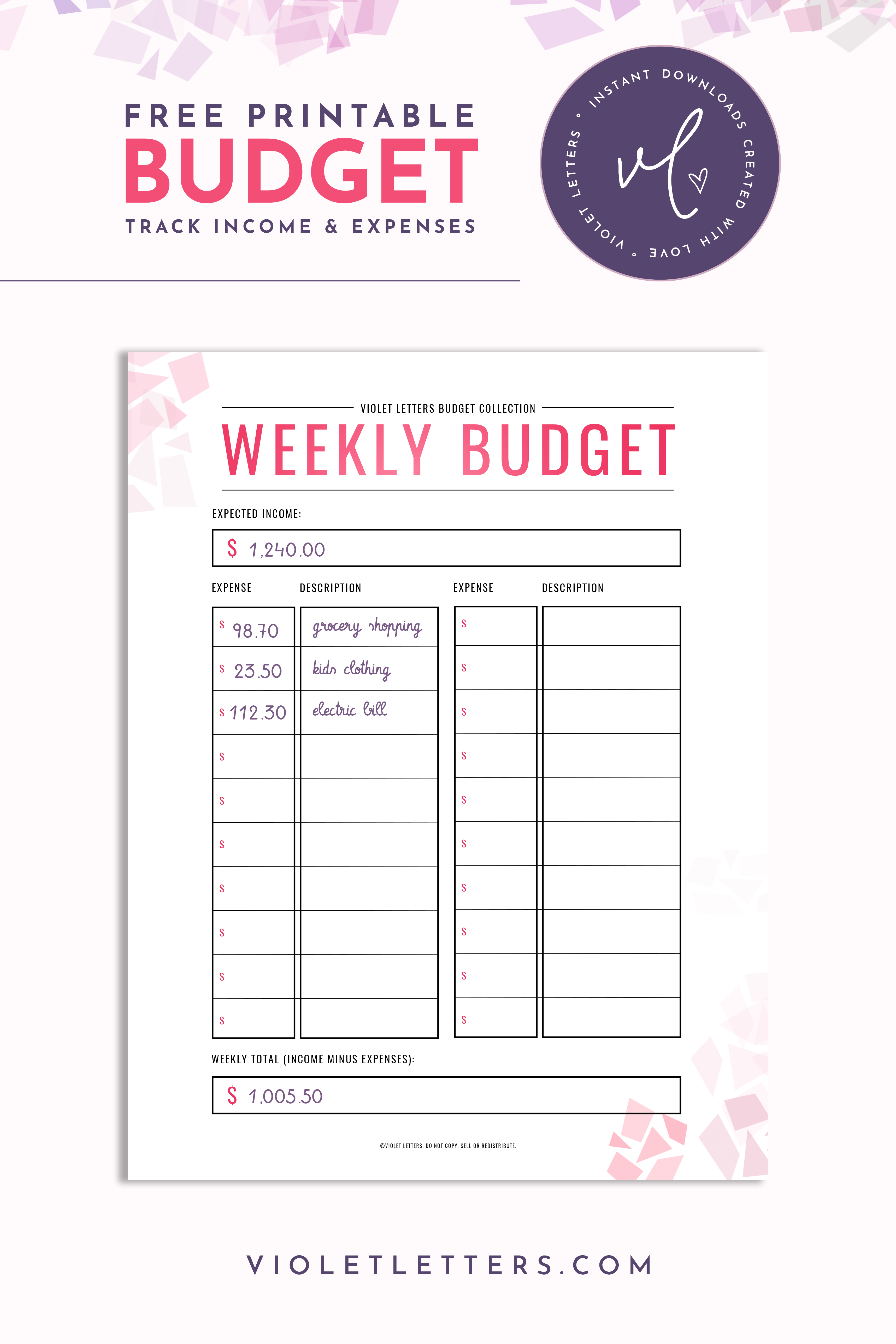 Freebie Weekly Budget Printable