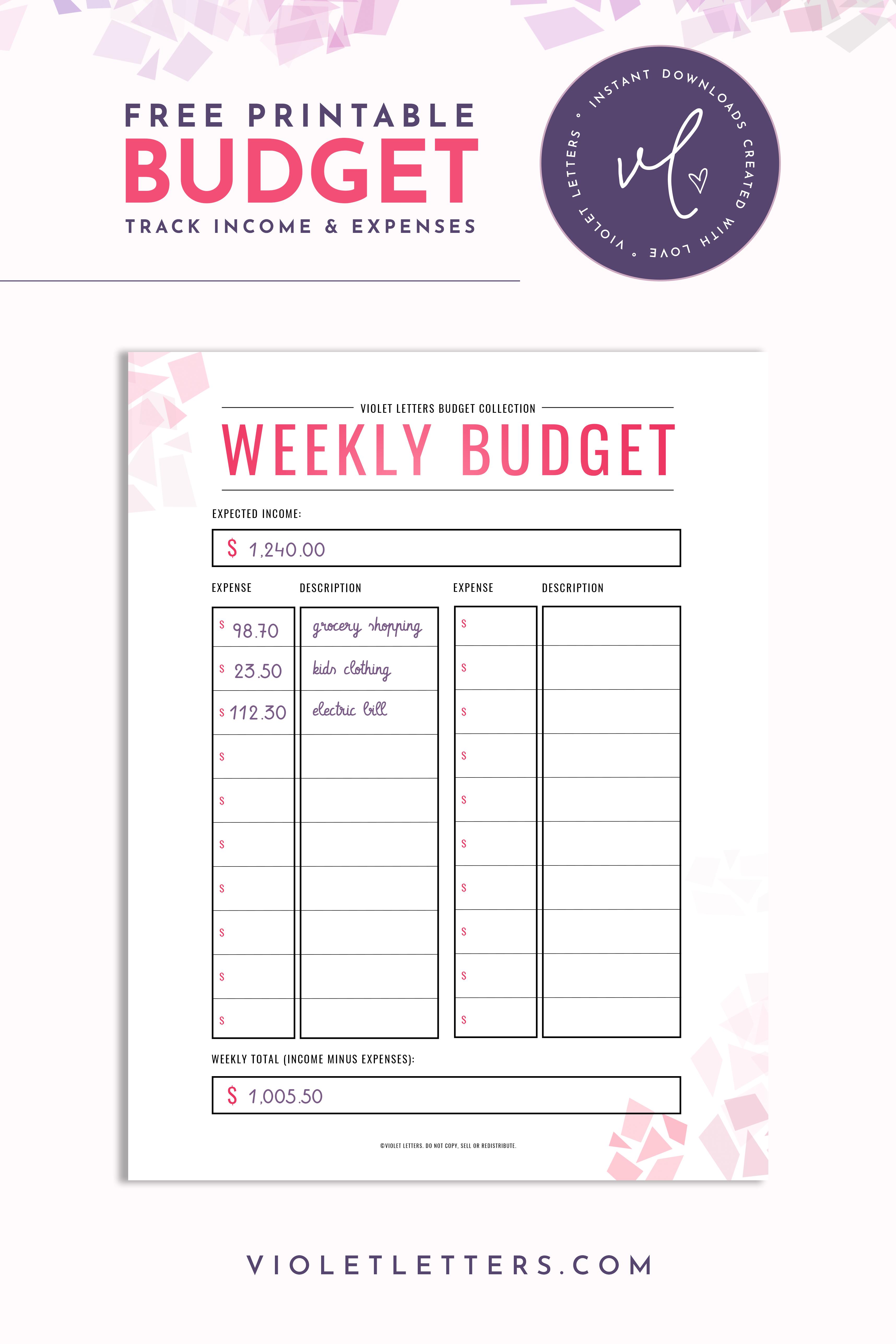 Freebie Weekly Budget Printable