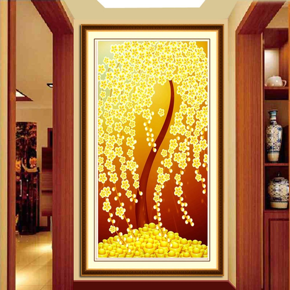 NEW 5D DIY Diamond Ingot trees Mosaic Embroidery Painting Craft Home ...