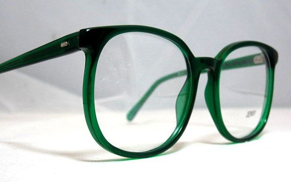ddf1f77e52 Vintage 80s Square Oversized Eyeglass Frames. They are a transparent Bright  Emerald Green color. They are a large