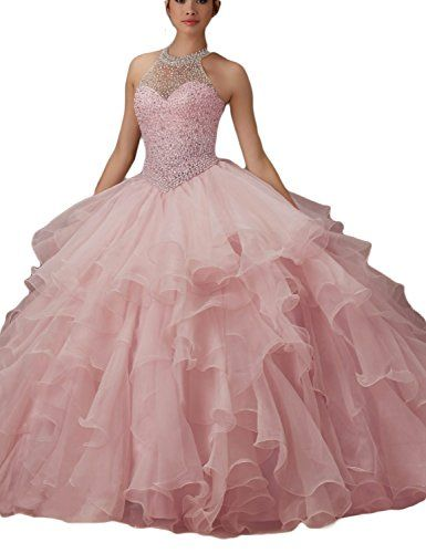 f4dd420e55e LMBRIDAL Women s Ball Gown Ruffled Beading Prom Dress Halter Quinceanera  Light Pink 18W