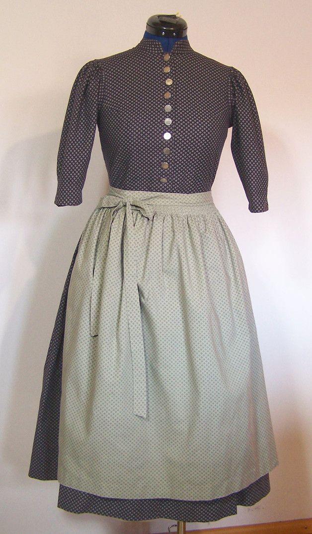 Vintage Trachtenmode - Dirndl mit Schürze, lila lindgrün, Gr.36/S