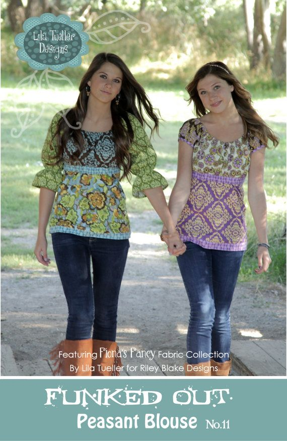 The Funked Out Peasant Blouse for women and teens sized 2-14 (rack sizes)... commercial pattern ~ LilaTuellerDesigns