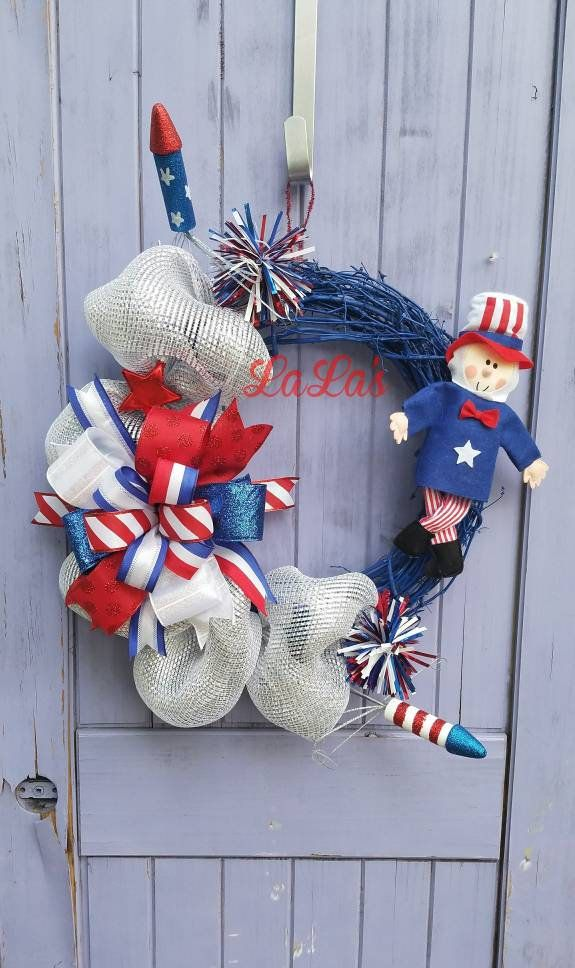 Fourth Of July Wreath For Front Door 4th Of July Uncle Sam Decoration Patriotic Grapevine