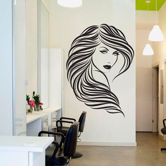 Schönheit Haar Salon Wand Aufkleber Dekor Lockiges Haar Frau Gesicht Vinyl  Wandtattoo Größe: 31,