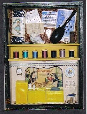Sewing Day Shadowbox Etsy In 2021 Shadow Box Diy Crafts For Home Decor Wallpaper Border