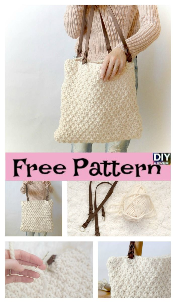 Double Seed Stitch Knit Bag - Free Pattern | Rucksack tasche, Beutel ...