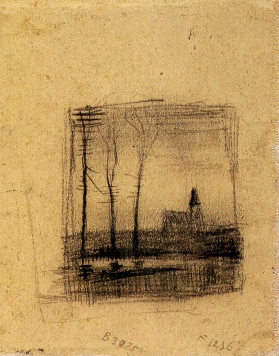Landscape with a Church via Vincent van Gogh Medium: chalk on paper