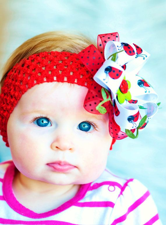 Lady bug Hair bow...baby hairbow...red 5a56c88cefe