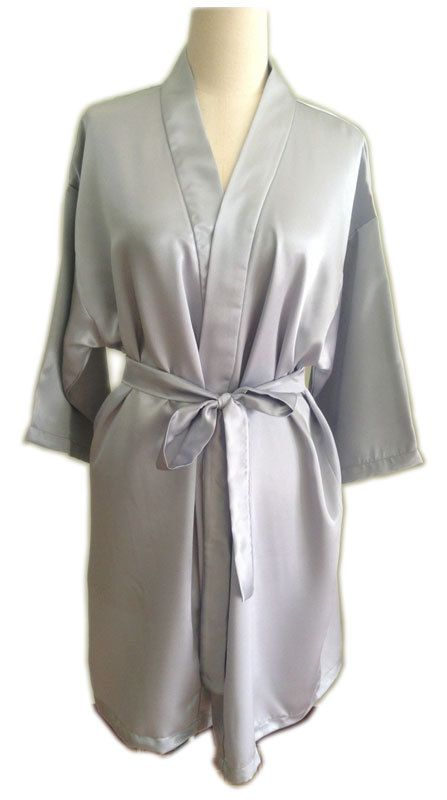 635a99c3b712 For the lovely Bride Kimono robe bridesmaids tiffany Colours Gray Satin  maid of honor spa robe beach