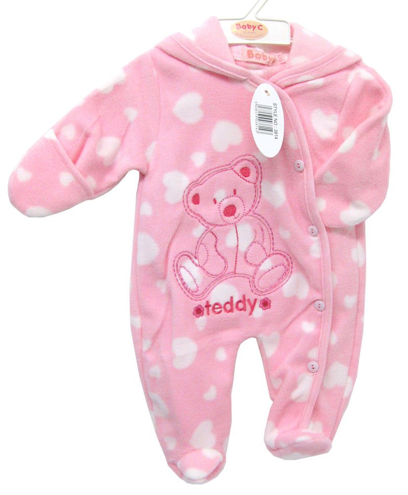 cd97439b1d8d Baby C - Pink Teddy Bear Heart Fleece Hooded Playsuit - Various ...