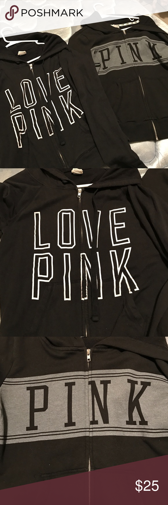 PINK Zip-ups. Both worn a few times. 2 black PINK hoodies with white and grey logos. $25 for both! PINK Victoria's Secret Other
