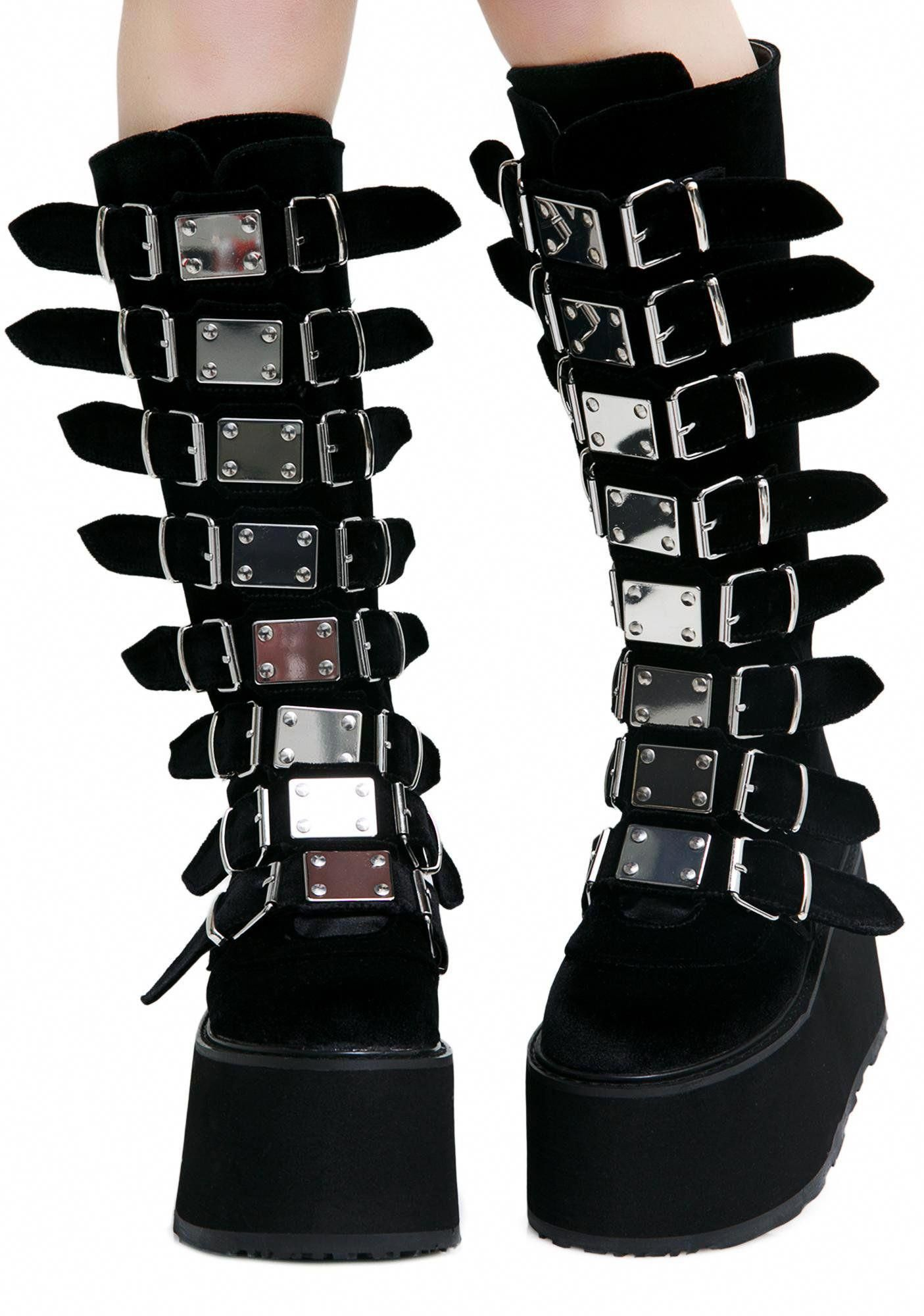 Goth boots, Goth shoes, Velvet boots