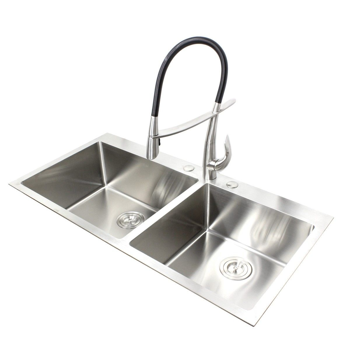 Medium image of 43 inch topmount   drop in stainless steel double bowl kitchen sink 15mm radius design