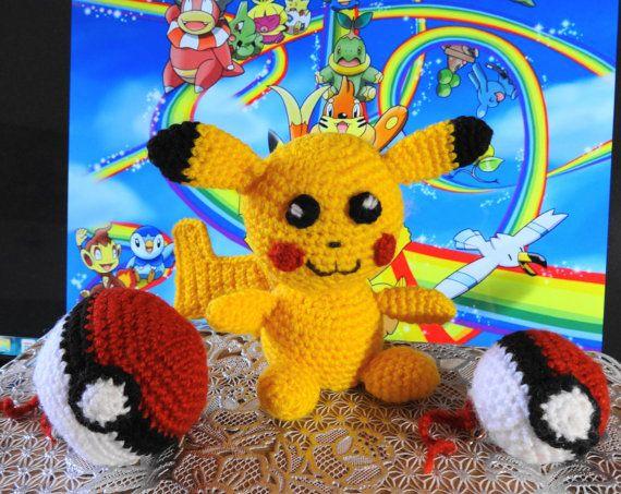 Amigurumi Patterns For Sale : Sale crochet pikachu pokemon pokeball amigurumi by savushkadesigns