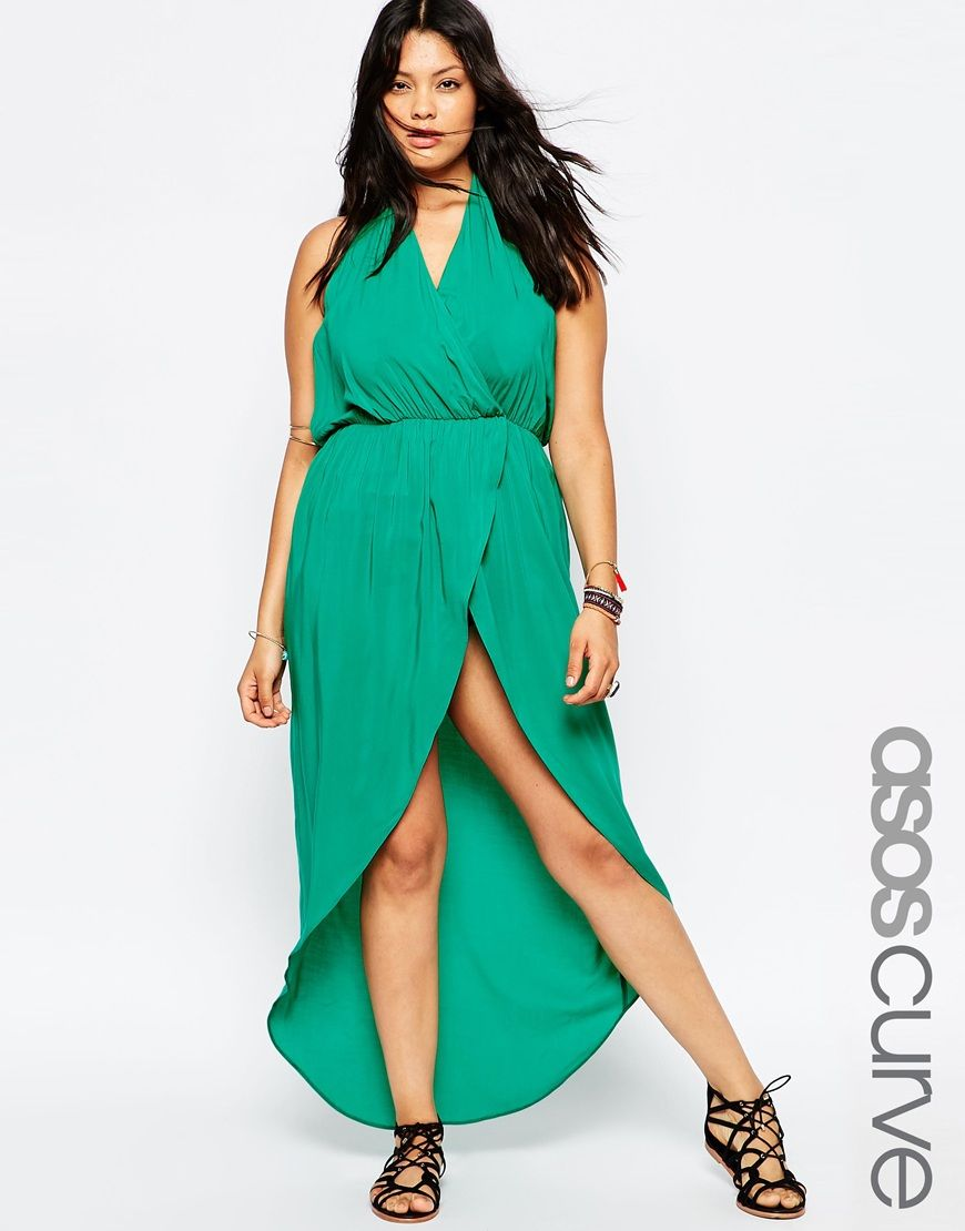 Image 1 of ASOS CURVE Plunge Maxi Beach Dress | Curvy Girl Fashion ...
