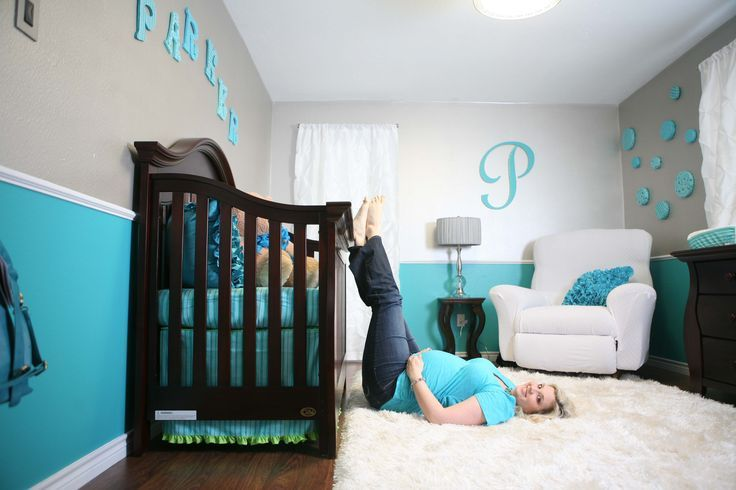 Baby Room Art Ideas Modern Two Tone Blue And Gray Boys Room Decorating  Ideas Themes Decoration Idea With Dark Brown Wooden Crib White Fur Rug  Ideas For Baby ...